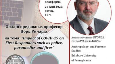 """Онлајн предавање на тема """"Влијанието на ковид 19 врз здравствените работници, полицијата и пожарникарите"""""""